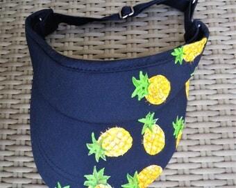 visor adult, blue, handpainted, pineapple, height adjustable, sport visor, visor tennis, sun visor, summer, mode Accessories sun,.