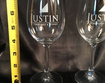 Two Tall Justin Vineyard & Winery Glasses!