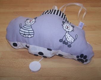 Cute customizable musical mobile cotton in black and white tones