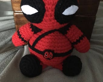 Handmade crocheted stuffed Deadpool