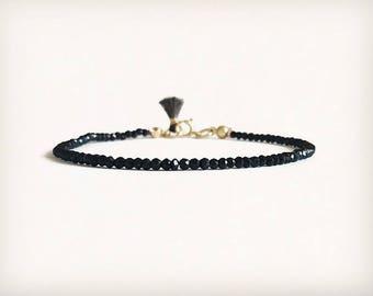 Delicate black spinel bracelet