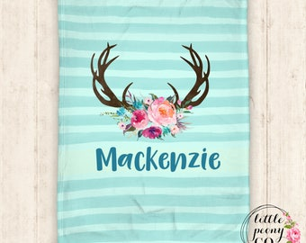 Personalized Baby Blanket - Baby Blanket - Personalized Blanket - Floral Antlers - Rustic Chic Blanket - Throw Blanket - Personalized Gifts