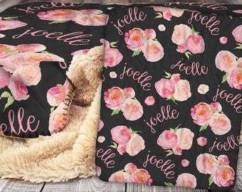 Personalized Blanket - Sherpa Throw Blanket -  Floral Blanket - Peony Blanket - Personalized Name Blanket - Baby Blanket - Sherpa