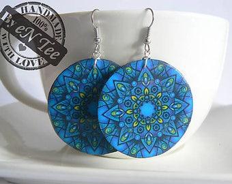Blue and green mandala hanging earrings