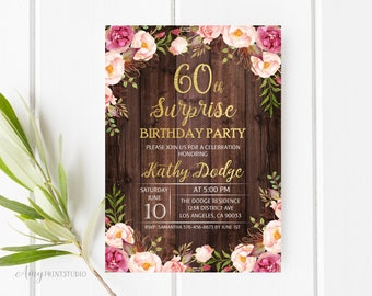 60th Birthday Invitation, Surprise Birthday Party Invitation, Floral Wood Invitation, Rustic Invitation, PERSONALIZED, Digital file, #W25