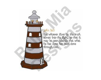 Lighthouse Machine Embroidery Design, John 3:21