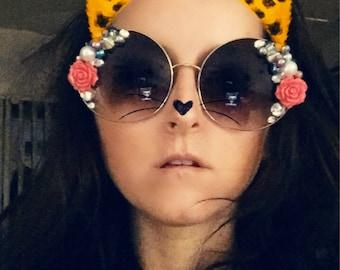 Rose Beaded Embellished Sunglasses