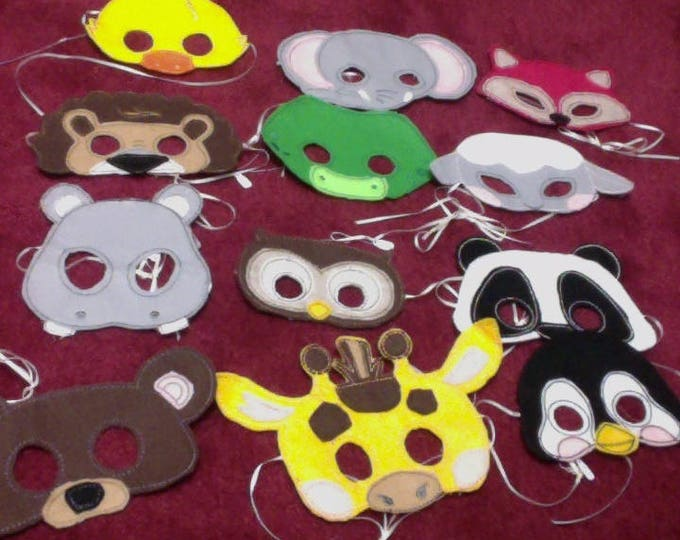 Set of Kids Felt Party Animal Masks and Favors for Birthdays, Halloween Animal Costume Masks, Party Favors, Safari and Zoo Costume Masks
