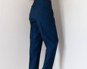 Vintage 80s Navy High Waisted Tapered Leg Trousers 26 27 Waist Small S
