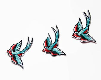 3 Patches - Iron On Patch Set Swallow - Rockabilly Patch - Swallows Patch Lover Blue Birds Applique - Embroidered Birds Sew On Patches Birds
