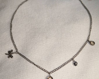 Trendy multicharm pave diamond  rose cut diamond Sterling Silver necklace choker - PJ4101715n