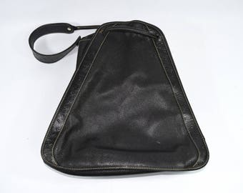 Marc Zanardelli Rare Vintage Black Leather & Full Quill Ostrich Triangle Shoulder Bag Made in France