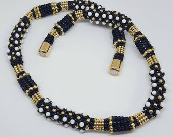 Black white and gold handmade beaded necklace