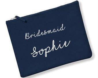 Personalised Bridesmaid cosmetic make up bag