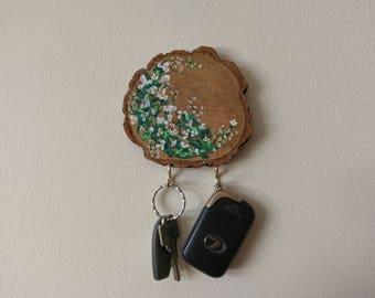 Wooden Hand Painted Key Hanger/Key Holder/Key Hook/Jeweler Hanger/Relief Painting/Mandala Wall Decor/Floral Design