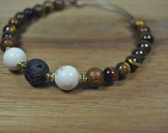 Essential Oil Diffusing Adjustable Bangle Bracelet with Lava Stone, White Howlite and Tiger Eye