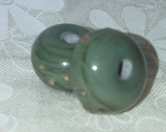 Vic's Glass Creations - Silvered Olive - handmade lampwork bead pair - SRA