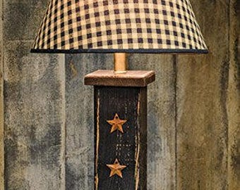 Rustic Wood Column Lamp with 3 Rusty Stars Distressed Finish