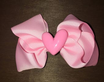 Pink Hairbow with Heart Center