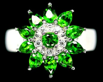 Luxurious gold plated S925 silver ring white diopside and Zirconium