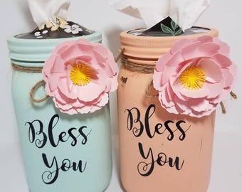 Mason jar tissues holder. Decorative Mason jar. Mason jar vase. Chalk painted Mason jar.