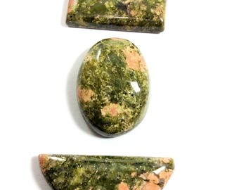 Unakite cabochons gemstone 27 to 33mm