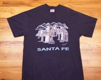 Vintage 80s 1989 Sante Fe New Mexico Puffy Print Native American Adobe Shirt Size XL