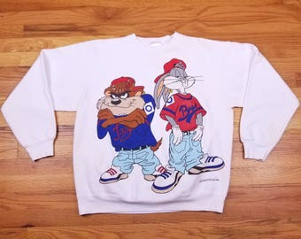 Vintage 90s 1992 Bugs Bunny Taz Tazmanian Devil Criss Cross Hip Hop Rap Tee Double Sided Sweatshirt shirt Size Large