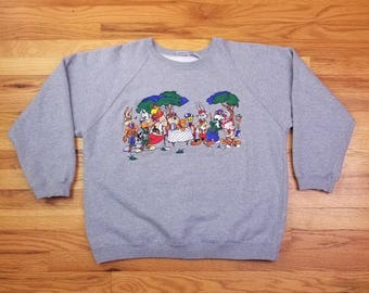 Vintage 90s Looney Tunes Bus Taz Daffy Golf Embroidered Sweatshrit Shirt Size large
