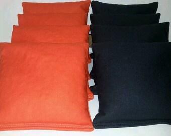 Set Of 8 Black & Orange Cornhole Bean Bags FREE SHIPPING