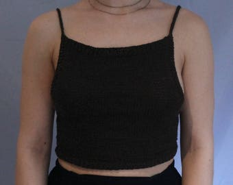 Black knitted crop top