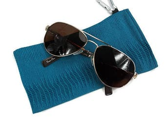 Sunglasses Glasses Case Snap Closure Teal Snake Print by Bunzo Co