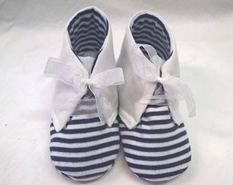 Marine, fabric shoes 9/12 months, white linen, chiffon bows