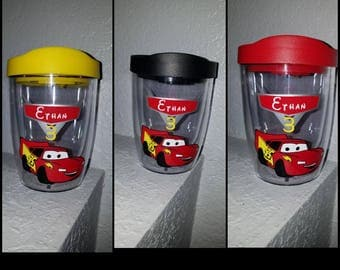 Personalized Cars Tumbler, Disney Cars, Lightning McQueen Tumbler, Disney Cars Birthday, Disney Cars Party, Personalized
