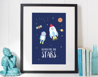 Reach For The Stars Space Nursery Print - Instant Download - Kids Space Print, Nursery Decor, Nursery Wall Art, Space Illustration, Stars