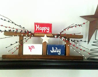4th of July Decor Signs - Americana Decor - Decorative Ladder - Rustic Home Decor Rustic - Wooden Ladder - Fourth of July Decorations