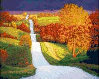 Old Country Road Cross Stitch Chart