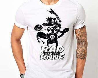 "Mens Bad To The Bone Wolf ""F**k The Police"" - White T-shirt"