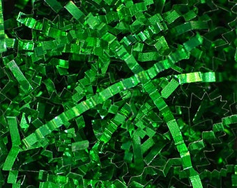 Metallic Crinkle Green ,Metallic Crinkle  Gift Basket Shred, Crinkle Paper ,Filler paper, Basket Filler , Cut Paper Shred, Eco Friendly