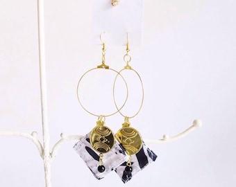 Statement Batik Hoop Earrings (Siberia)