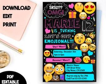 Emoji Editable, Emoji Instant Download, Emoji PDF Editable, Editable Emoji PDF Invitation, Emoji Party, Emoji Invitations, Emoji Party Ideas