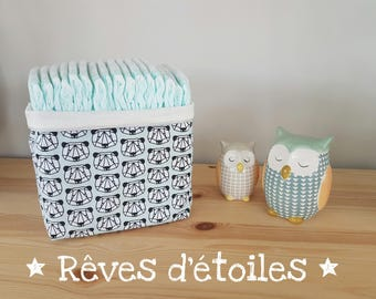 Basket, basket, organizer for changing table, panda layers