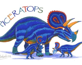 Dinosaur Greeting Card - Triceratops