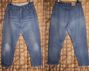 90s High waisted LEE jeans , Lee Elastic Waist , 32 Waist Lee Jeans , High waist Mom Jeans 90s , Vintage Lee , 90s denim pants , Pocketless