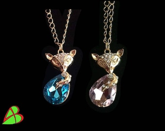 Blue and pink Fox necklace