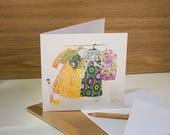 Spring Birthday Card. Colourful floral card for girlfriend sister, wife, Mum. 60s 70s fashion retro flower power fashion. Dolls clothes