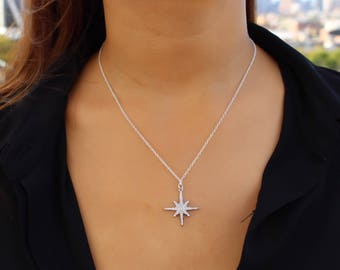 North Star Necklace / Polaris Necklace / Starburst Necklace / Sterling Silver Star Necklace / Gift Ideas For Her / Bridesmaid Gift