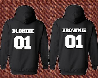 Blondie and Brownie Best Friends Hoodies, Matching Shirts, Best Friends SweatShirt, BFF Pullover