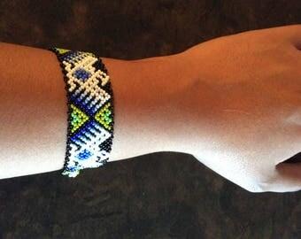 MEXICAN HANDMADE** Beaded Bracelet** Huichol Tribal** White with Green** Freedom Bracelet**