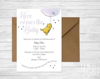 Winnie the Pooh - Baby Shower / Christening Invitation with envelope